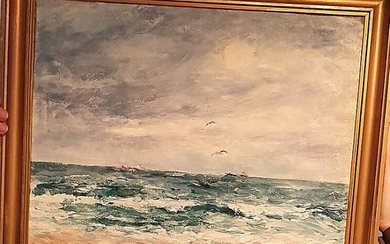 "Niels Nielsen: ""View from the beach, Skagen"". Signed Niels Nielsen. Oil on canvas. 40×48 cm."