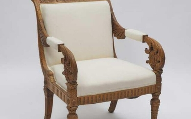 North Italian Neoclassical Carved Walnut Open Armchair