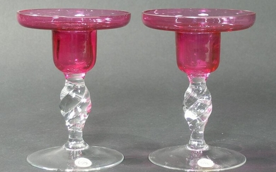 PAIR OF PAIRPOINT GLASS CANDLESTICKS