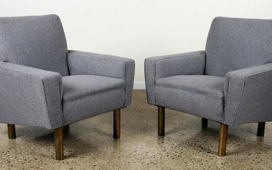 PAIR OF UPHOLSTERED CLUB CHAIRS BRASS LEGS C.1950