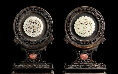 PAIR OF WHITE JADE PLAQUE INSET WOODEN SCREEN QING DYNASTY, 19TH CENTURY