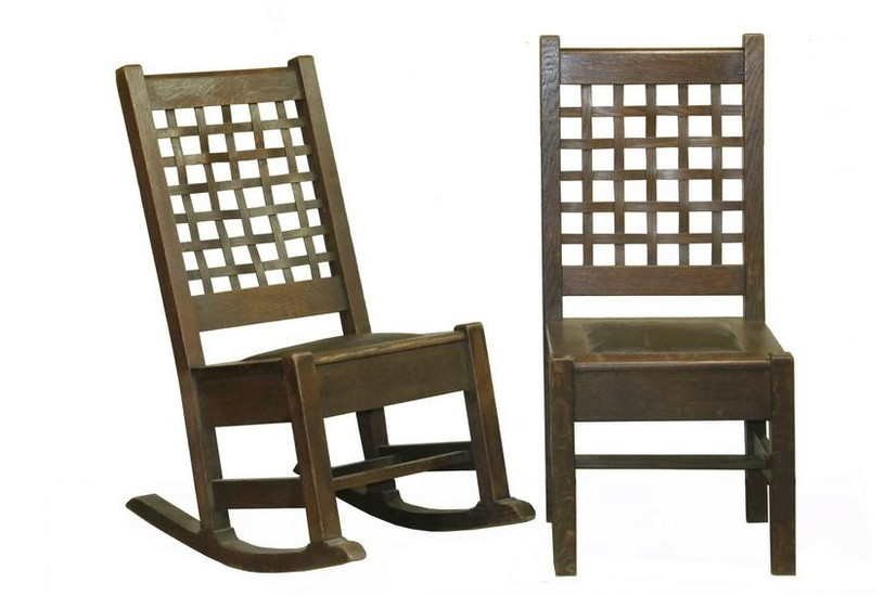 PR OF BENCH MADE CHAIR AND ROCKER, SIGNED