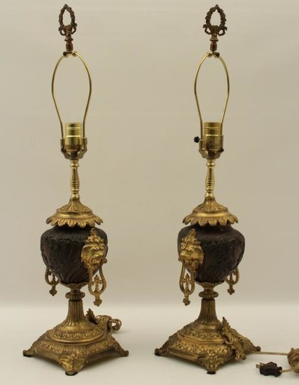 PR. OF FRENCH BRONZE AND GILT URNS WITH LION HEADS