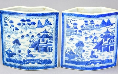 Pair Chinese Canton Blue & White Porcelain Holders