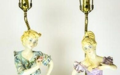 Pair Large Porcelain Figural Male & Female Lamps