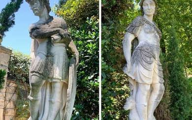 Pair Of 18th Century French Stone Statues