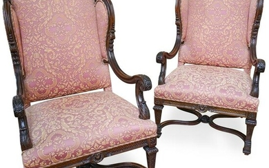 Pair Of Baroque Colonial Wingback Chairs