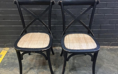 Pair Of Timber Crossback Dining Chairs (H87 x 57 x 52cm)