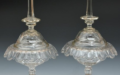Pair of Dutch silver mounted cut glass lidded compotes