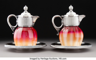 Pair of Plated Amberina Glass and Silver Plate Syrup Jugs on Stands (circa 1900)