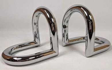 Pair of Post Modern Chrome Bookends.