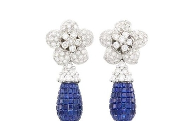Pair of White Gold, Diamond and Invisibly-Set Sapphire Pendant-Earrings