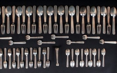 """Housewife's part in silver 950 thousandths, model CHANTACO, monogrammed """"C.B"""" including 12 place settings 11 oyster forks 12 cake forks 9 teaspoons 1 sugar tongs 1 sauce spoon. PUIFORCAT Weight : 2.575 kg Model created by Jean Puiforcat, it is..."""