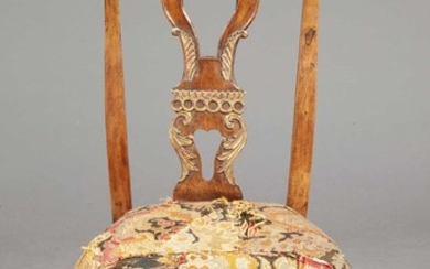 Portuguese Rococo Walnut and Parcel-Gilt Side Chair