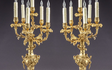 Pr. French ormolu and marble candelabra,