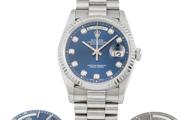 ROLEX, REF. 18239, DAY-DATE, DIAMOND DIAL AND 2 EXTRA DIALS, WHITE GOLD