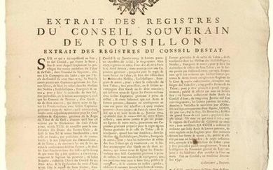 """ROUSSILLON. 1742. DOUANE. TOBACCO & COFFEE of the COMPANY OF INDIA. FAUX-SEL - Extract from the registers of the Sovereign Council of Roussillon - PERPIGNAN (66) 6 December 1742 """"On what was represented to the King, in his Council, by Pierre LE SUEUR..."""