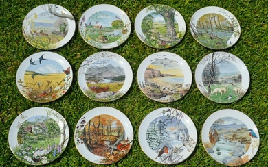 Royal Worcester Porcelain Monthly Scenes Plates