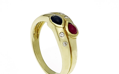 Ruby-sapphire-diamond ring GG 585/000, each with a drop-shaped...