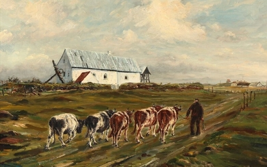 Sergius Frost: A view of Maarup Church near Loenstrup in Jutland. Signed and dated S. Frost Maarup 1953. Oil on canvas. 50×70 cm.