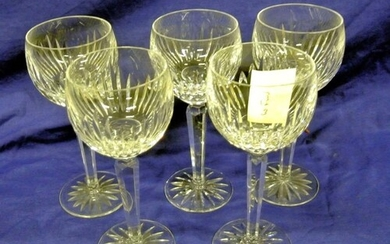 Set of 5 Waterford crystal stemmed hock or wine glasses with...