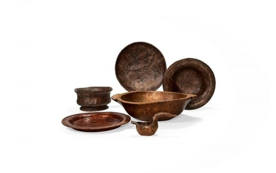 Seven various turned and carved wood vessels, 20th century