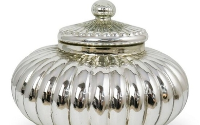Silver Toned Glass Lidded Bowl