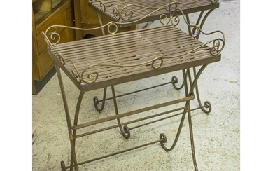 TRAY TABLES, a pair, metal, on folding stands, 73cm H x 62cm...