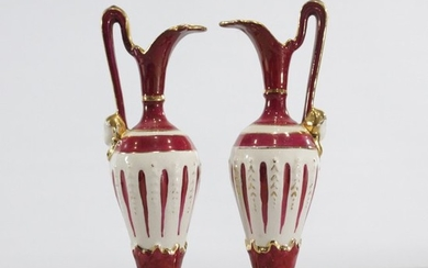 Two [2] Porcelain Ewers, Goldra, E. P. Lestine