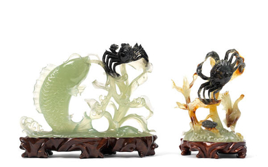 Two Chinese green hardstone elaborate groups