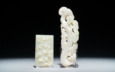 Two Chinese white and green jade carvings, 19th/20th...