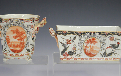 Two Emile Gallé faience art pottery planters, circa 1900, the first of flared cylindrical shape