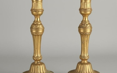 Two early 19th century ormolu bronze candlesticks.&#160