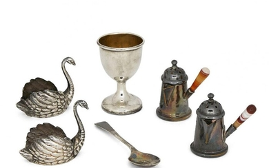 Two miniature German silver swans, both with...