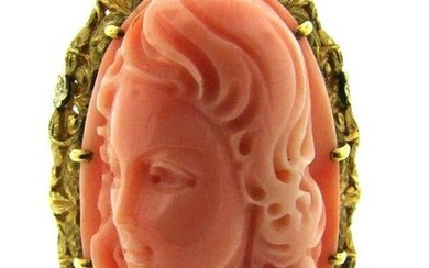 UNIQUE 14k Yellow Gold & Carved Coral Ring Circa 1950s