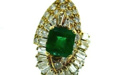 VINTAGE 18k Yellow Gold, Diamond & Emerald Ring Circa