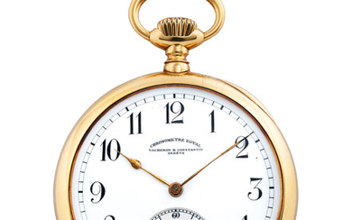 Vacheron Constantin. A Fine and Large Yellow Gold Open Face Keyless Pocket Watch