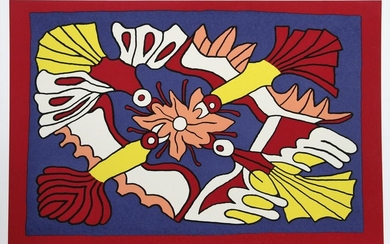 Victor Delfin, Four Red Birds and a Flower, Serigraph