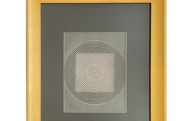 "Victor Vasarely Optical Illusion Art ""Circles/Squares"""