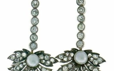 Victorian Natural Pearl Diamond EARRINGS Gold and