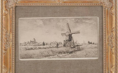 View of Frisian village on a lake with mill and man