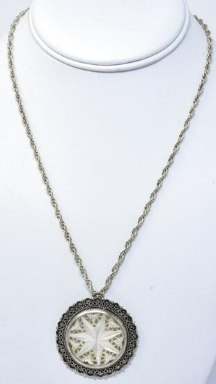Vintage Sterling Silver & Mother of Pearl Necklace
