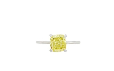 White Gold and Fancy Yellow Diamond Ring