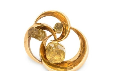YELLOW GOLD AND CITRINE BROOCH