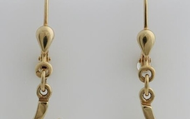 Yellow gold earrings, 585/000, with pearl.&#160