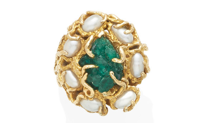 a gold, cultured pearl and emerald ring