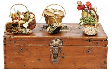 mixed lot of early dollhouse flower baskets, possibly