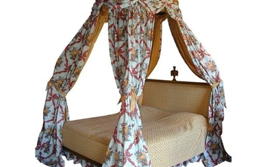 1 Louis XVI style polonaise bed in beech...
