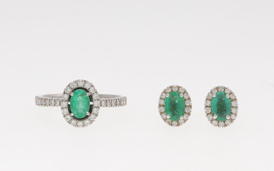 Emeralds and diamonds rosette ring and earrings.