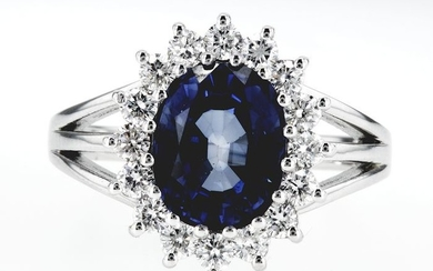 14 kt. White gold - Ring, Diana - 4.88 ct Sapphire - Diamond, No reserve price